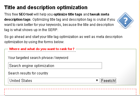 Title and Description Optimization Tool