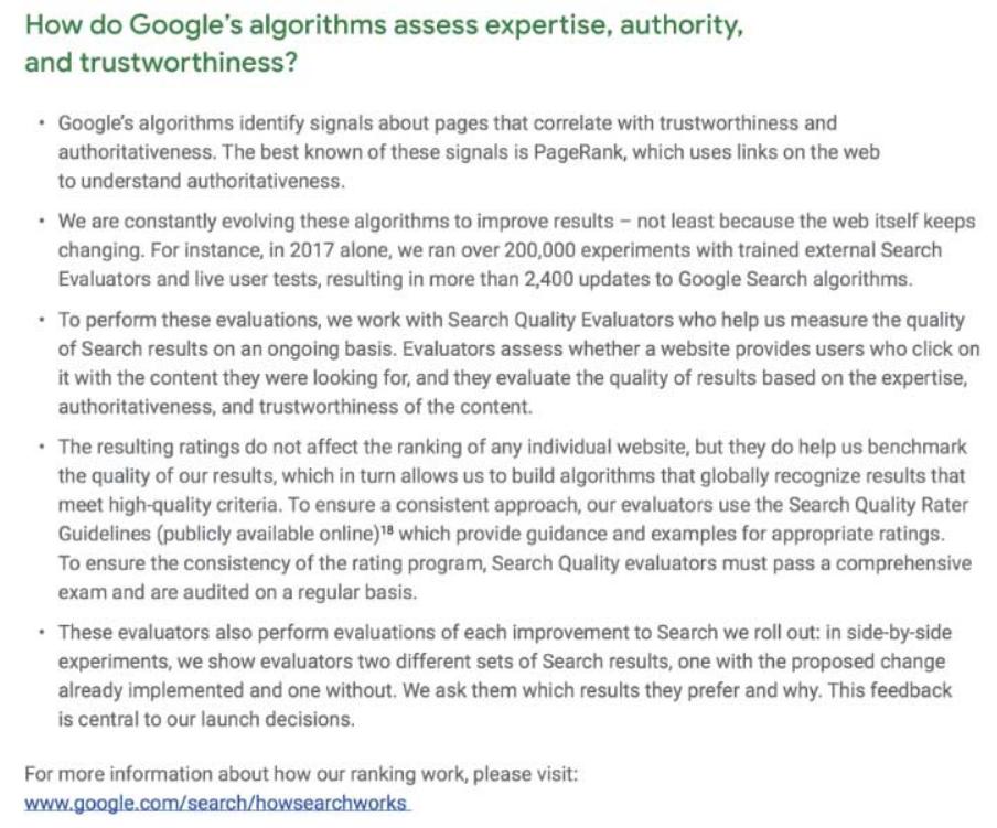 E A T Discussion in Google